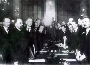 Podpisanie traktatu pokoju między Polską a Rosją i Ukrainą w Rydze dnia 18 marca 1921 r.